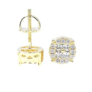 Yellow Gold Finish Round Face Princess Cut Earring